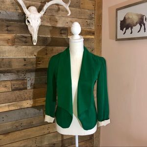 Anthropologie emerald green open Diana blazer